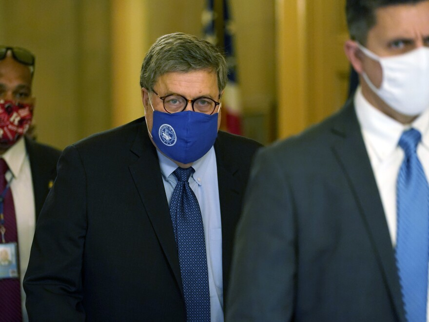 Attorney General William Barr leaves the office of Senate Majority Leader Mitch McConnell of Ky., on Capitol Hill in Washington, Monday, Nov. 9, 2020.