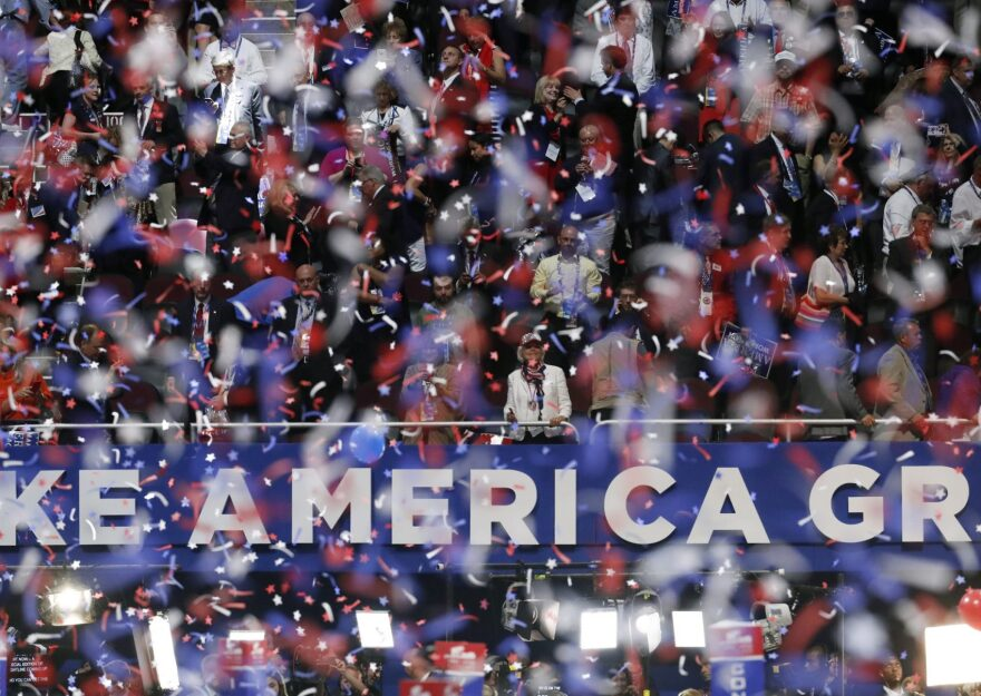 Confetti and balloons fall during celebrations after Donald Trump's acceptance speech on the final day of the Republican National Convention in Cleveland, Thursday, July 21, 2016. (AP Photo/Paul Sancya)