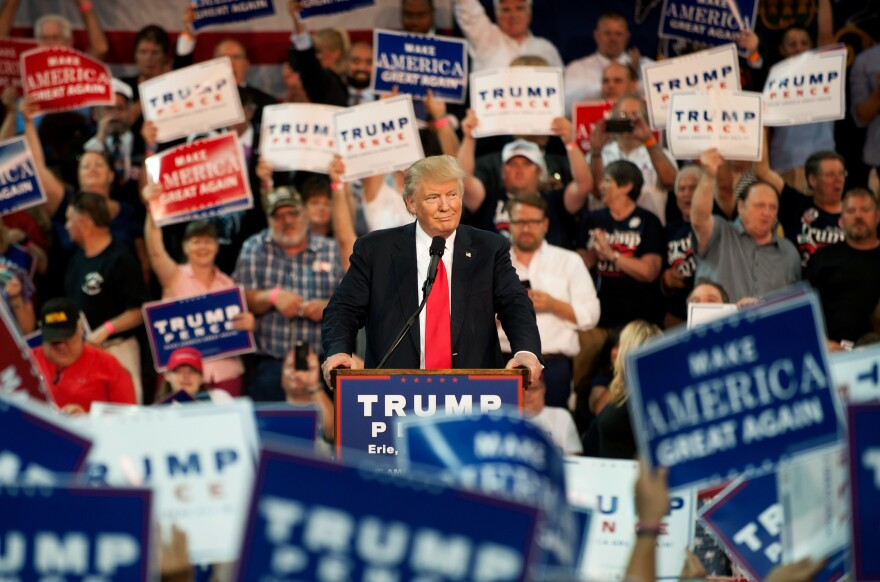 Republican presidential candidate Donald Trump speaks to supporters at a rally in Erie, Pa., last Friday.