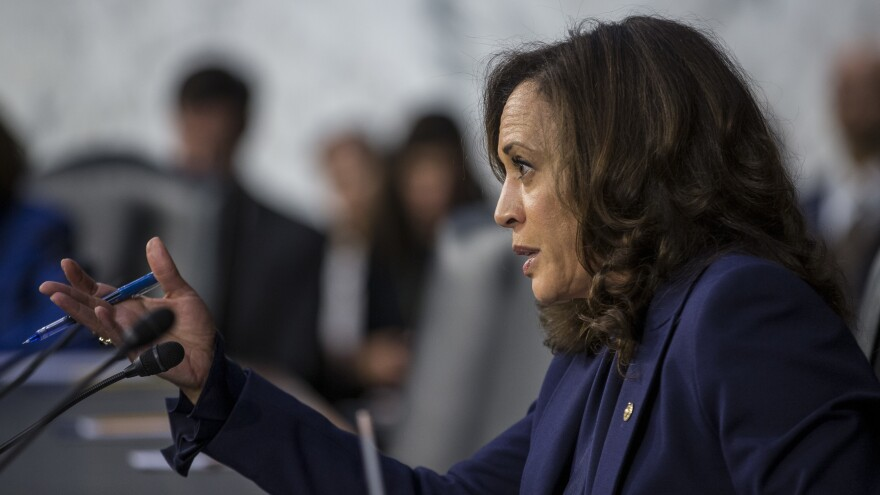 Sen. Kamala Harris, D-Calif., questions Supreme Court nominee Brett Kavanaugh during his 2018 confirmation hearing on Capitol Hill. That took place in the run up to her presidential bid. Now, she'll face the spotlight as her party's vice presidential nominee.