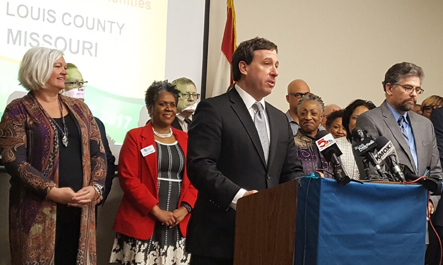 St. Louis County Executive Steve Stenger announces St. Louis County has earned Certified Work Ready Community status at a press conference on Feb. 21, 2018.