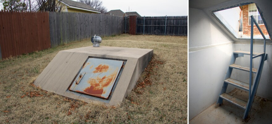 The most common tornado shelters have steep stairs, making them inaccessible to people with ambulatory disabilities. The base model, found in some backyards in Oklahoma, is an underground concrete box, like this one.