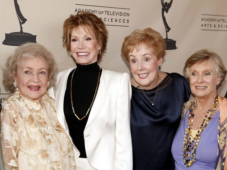 Betty White (from left), Mary Tyler Moore, Georgia Engel and Cloris Leachman pose in a <em>Mary Tyler Moore Show </em>reunion of sorts at a celebration of Betty White's 60 years on television in 2008.