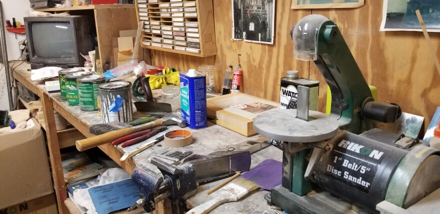 Gerald Self's workshop where he builds and fixes harpsichords.
