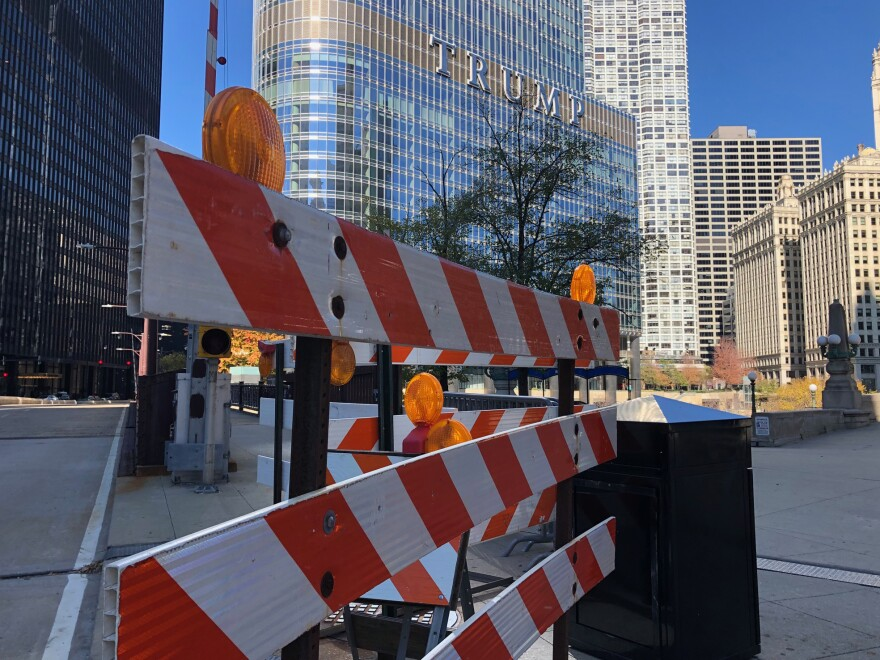 The city of Chicago has barricades ready to try to keep protesters away from Trump Tower, if necessary.
