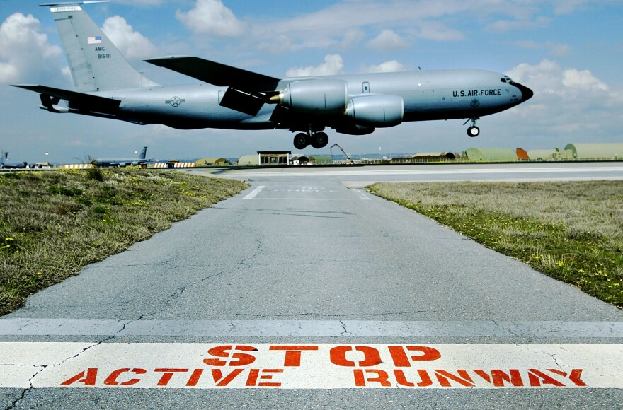A U.S. KC-135 refueling jet lands at Incirlik Air Base in Turkey in 2003. The base has been a critical hub for the U.S. Air Force for decades. But the U.S. and Turkey sometimes have very different agendas and at times the U.S. hasn't been allowed to use the base. The U.S. Air Force is currently using Incirlik to carry out airstrikes against the Islamic State.