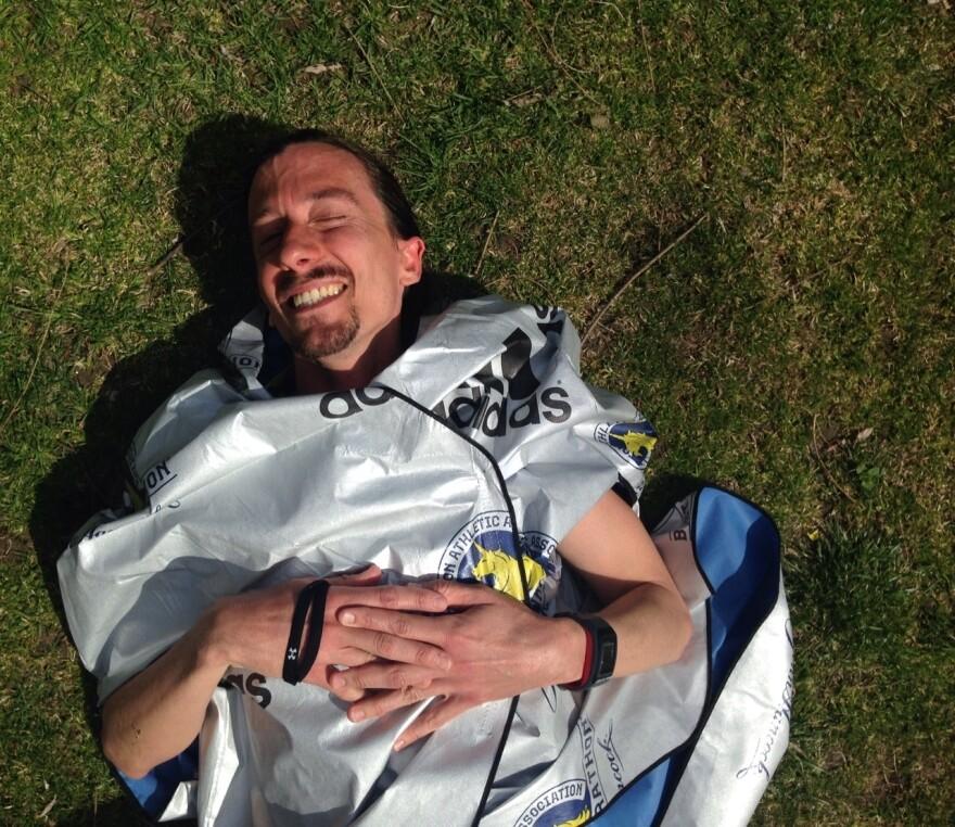 Jonny James, 36, of Toronto, after finishing the Boston Marathon.