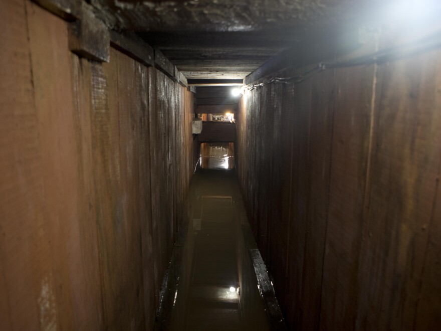 A storm sewer system under the home where marines searched for El Chapo in Los Mochis, Mexico.