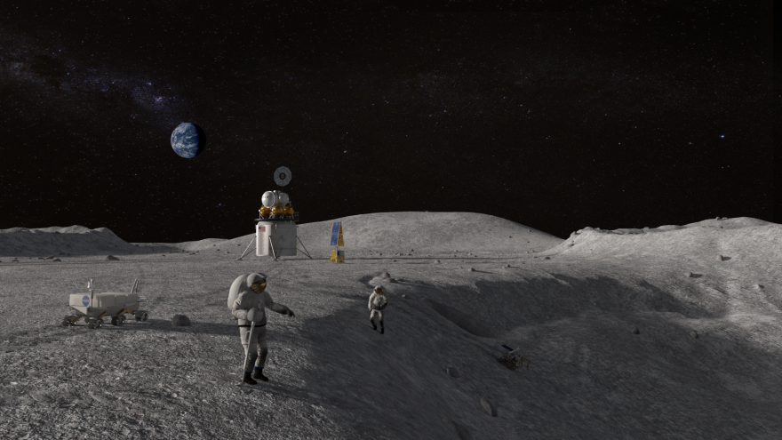 An illustration of astronauts at a lunar crater.