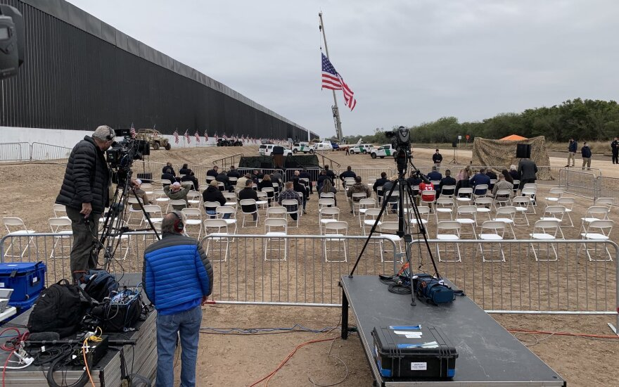 seats and TV cameras in front of an upcoming speech by president trump at a portion of the border wall