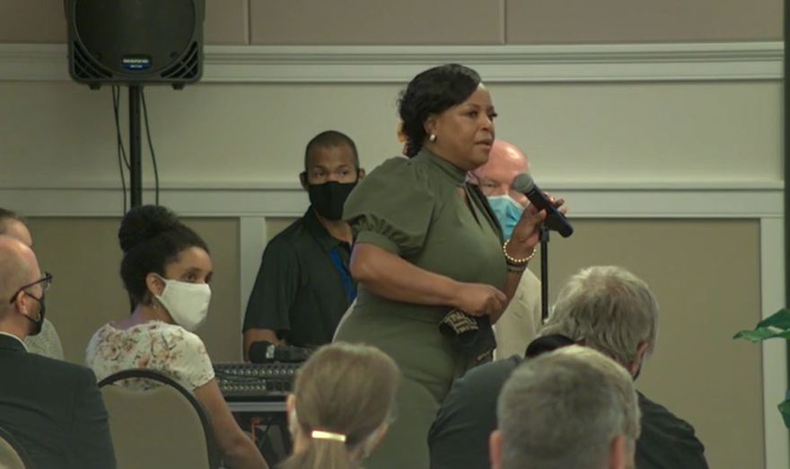 Sharon Cooley McWhite, the great niece of Julius July Perry, thanked Ocoee city leaders for acknowledging the 1920 election day massacre. Photo: Ocoee TV