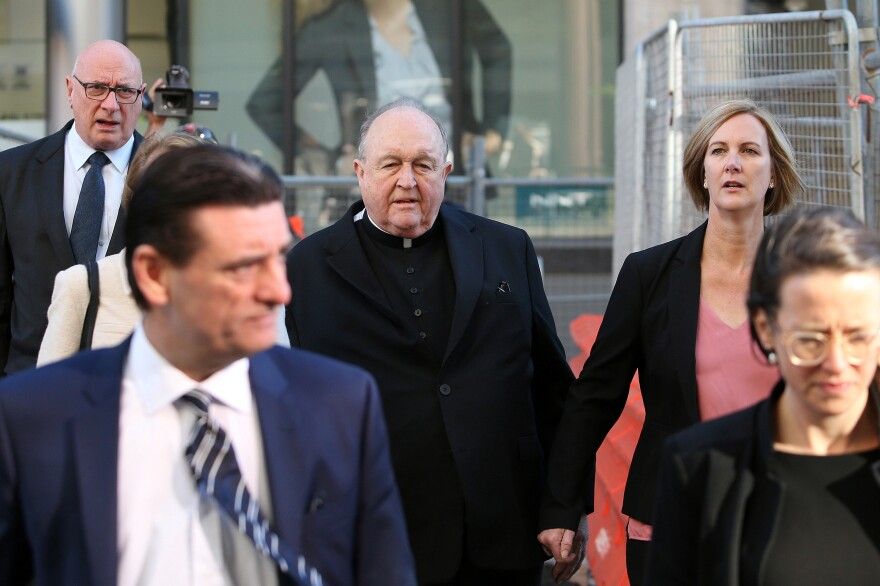 Archbishop Philip Wilson arrives at Newcastle Local Court in Newcastle, Australia yesterday.