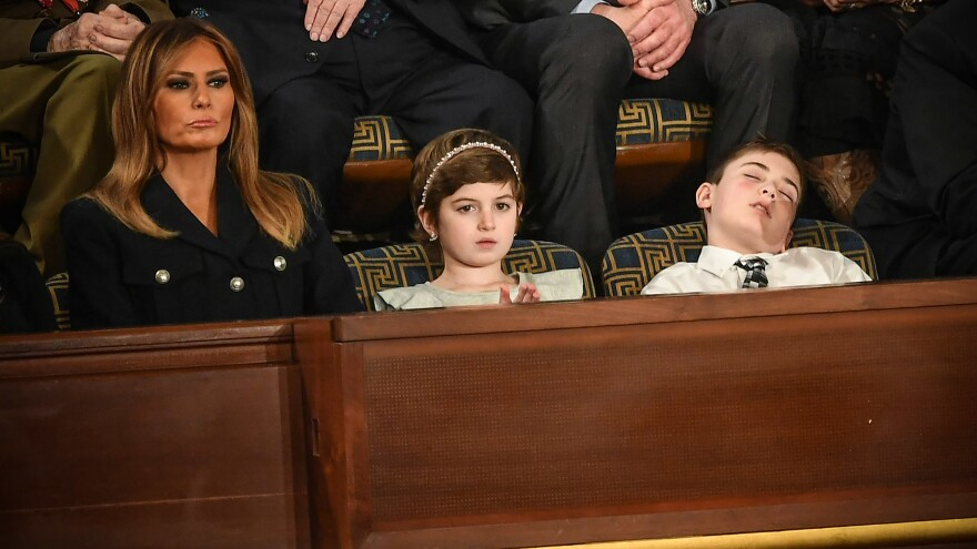 First lady Melania Trump with special guests Grace Eline and Joshua Trump.