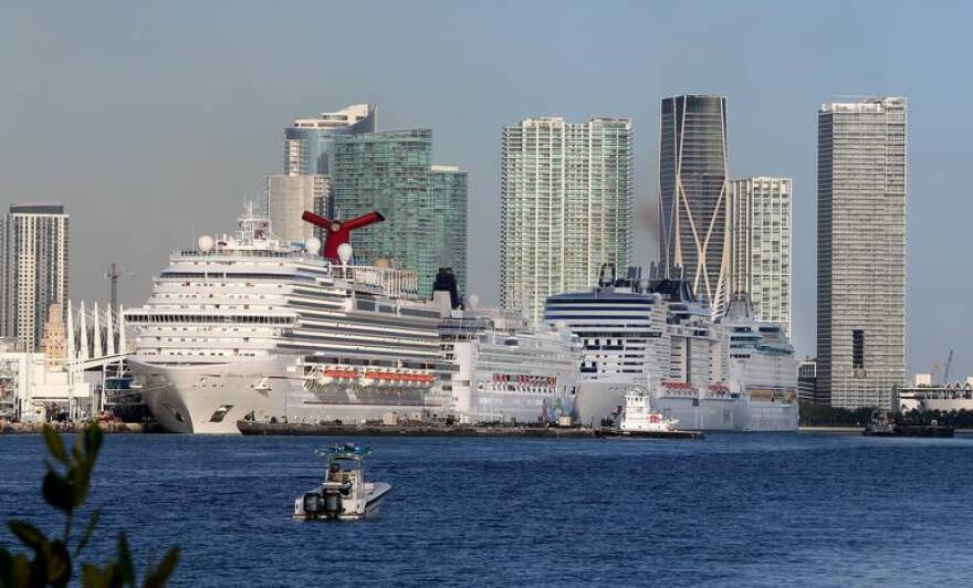 Cruise ships line the Port of Miami on Sunday, March 15.