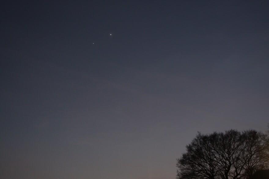 Jupiter and Venus against the summer sky.