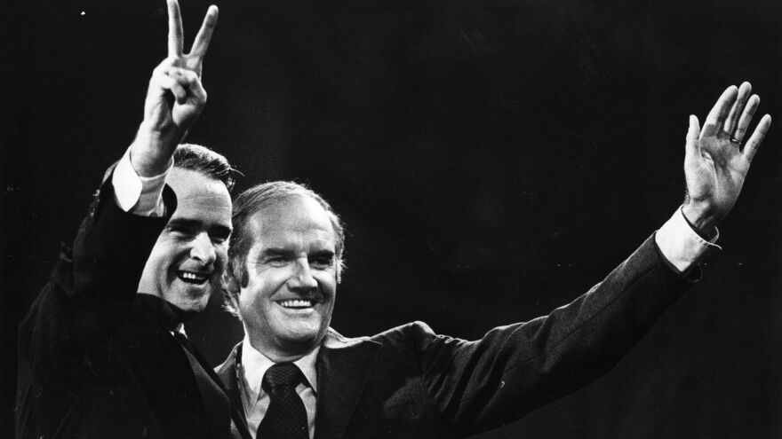 Sen. Thomas Eagleton offers a peace sign alongside Democratic presidential candidate George McGovern during their short-lived pairing as running mates in 1972.