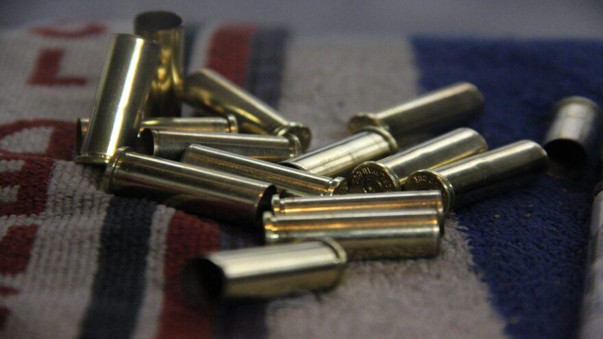 Spent casings at Eagle Gun Range in Lewisville, Texas. Reloaders pick up brass from the gun range floor for reloading later.