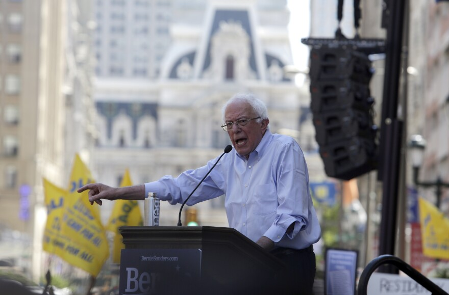 Democratic presidential candidate Bernie Sanders, I-Vt., delivers remarks at a rally alongside unions, hospital workers and community members against the closure of Hahnemann University Hospital in Philadelphia.