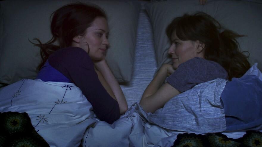 Iris (Emily Blunt, left) invites her best friend Jack to her family's vacation home after a death in his family. Unbeknownst to him, Iris' sister Hannah (Rosemary DeWitt) is already there, in the hopes of getting over a breakup.