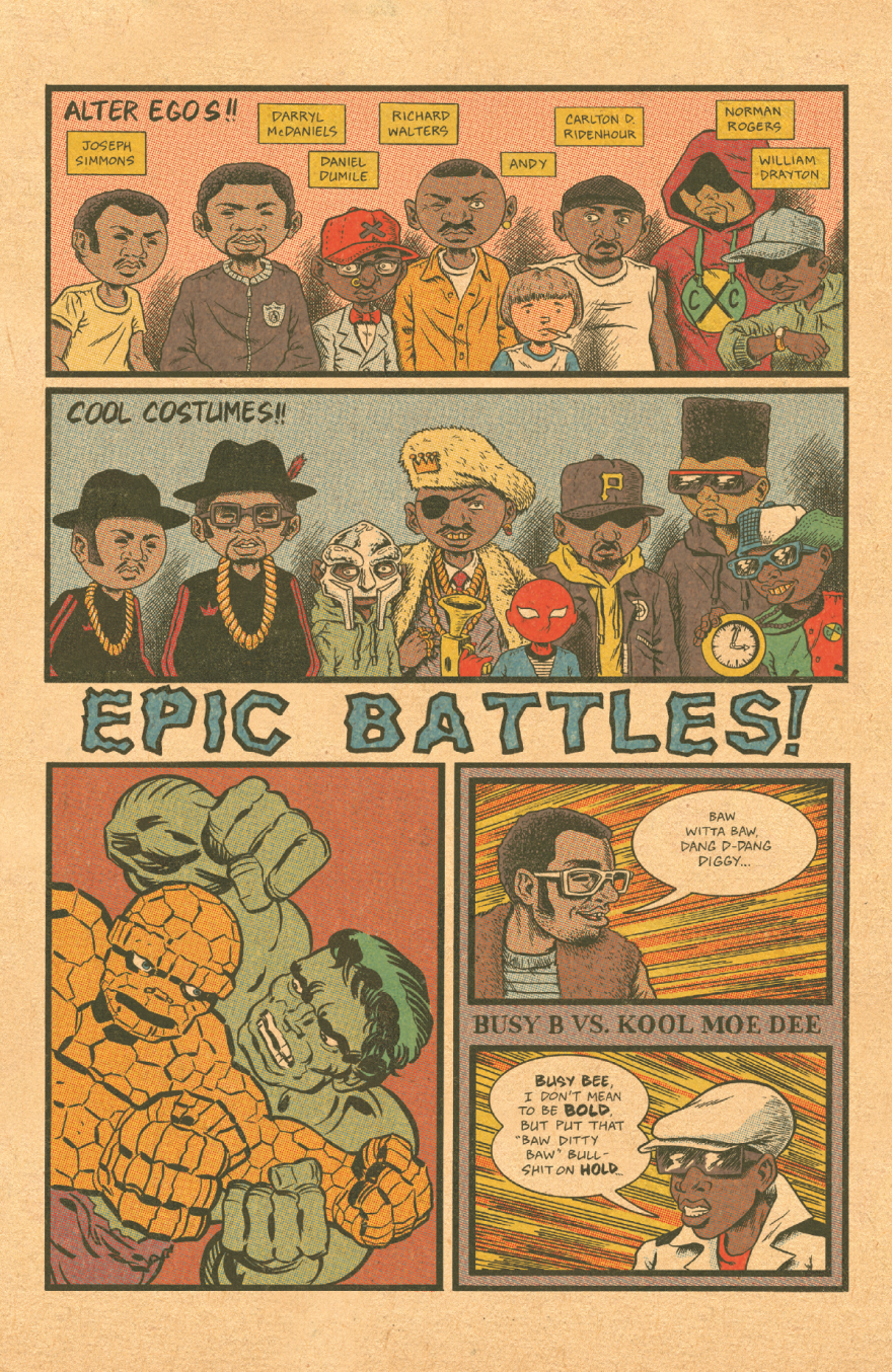 The history of hip-hop has a lot in common, as it turns out, with superheroes — as this page from Fantagraphics <em>Hip Hop Family Tree</em> points out.