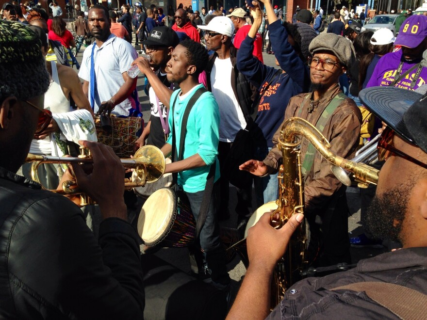 After a day of violence, demonstrators turned to music on Tuesday in Baltimore.