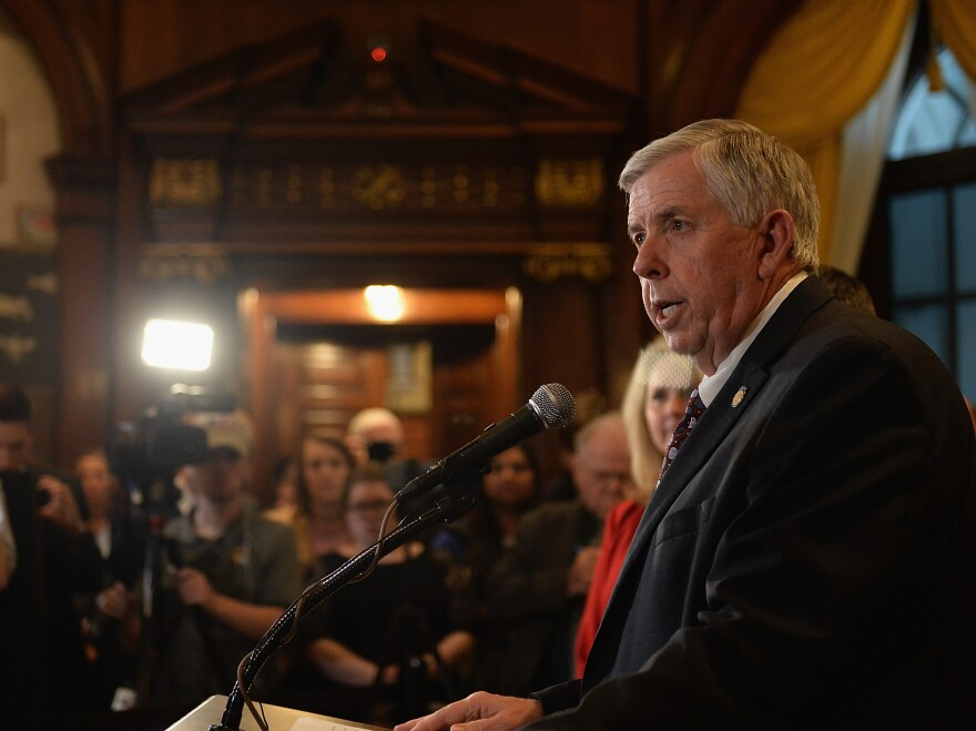 Missouri Gov. Mike Parson signed into law on Friday a ban on nearly all abortions after eight weeks of pregnancy.