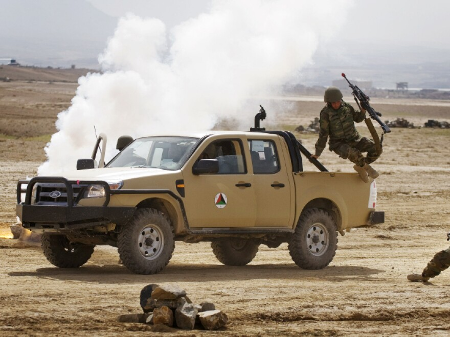 Afghan troops participate in a training exercise at Camp Blackhorse in Kabul, March 10, 2010. After a decade of fitful training and billions of dollars, the Afghan security forces have an abysmal record of acting without direct NATO assistance.
