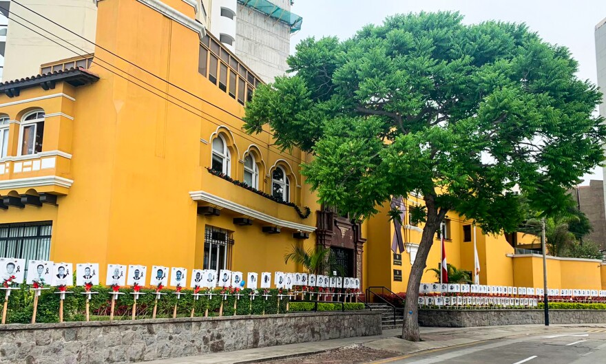 At the front of Peru's Medical Council Headquarters in Lima, a memorial has been set up for the more than 270 physicians who died caring for COVID-19 patients.