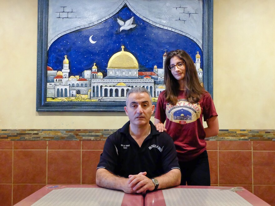 Holy Land owner Majdi Wadi (left) with his daughter Noor Wadi (right) at the Northeast location of the family business.