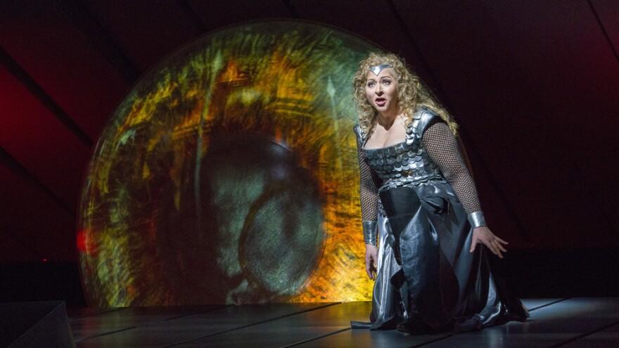 Soprano Christine Goerke, as Brünnhilde the Valkyrie warrior, at a dress rehearsal for Wagner's <em>Die Walküre</em> at New York's Metropolitan Opera.