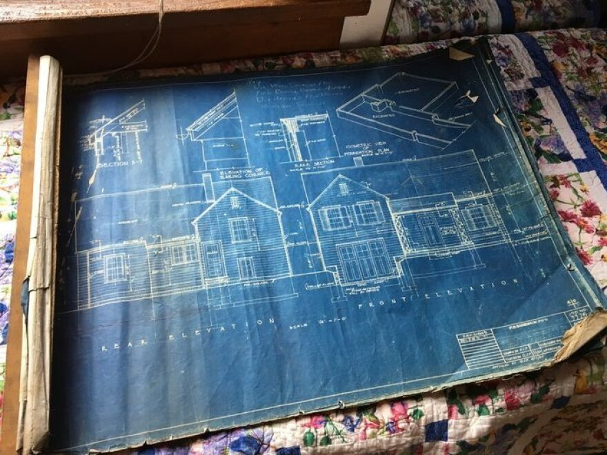 An original Sears blueprint and an instruction book told buyers how to put together their precut, mail-order home step by step.