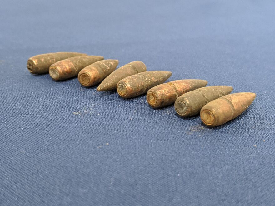 A photo of the bullets that were found at the sight of the burnt ROTC building on May 3, 1970.