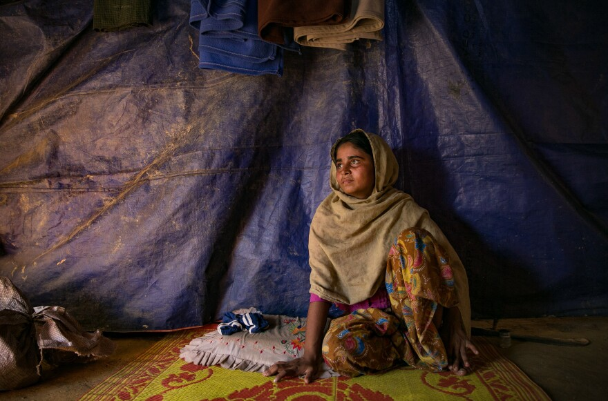 Sanura Begum in the Kutupalong Rohingya refugee camp on the day she learned she's pregnant with her second child. Facing an uncertain future, she says this is her last pregnancy.