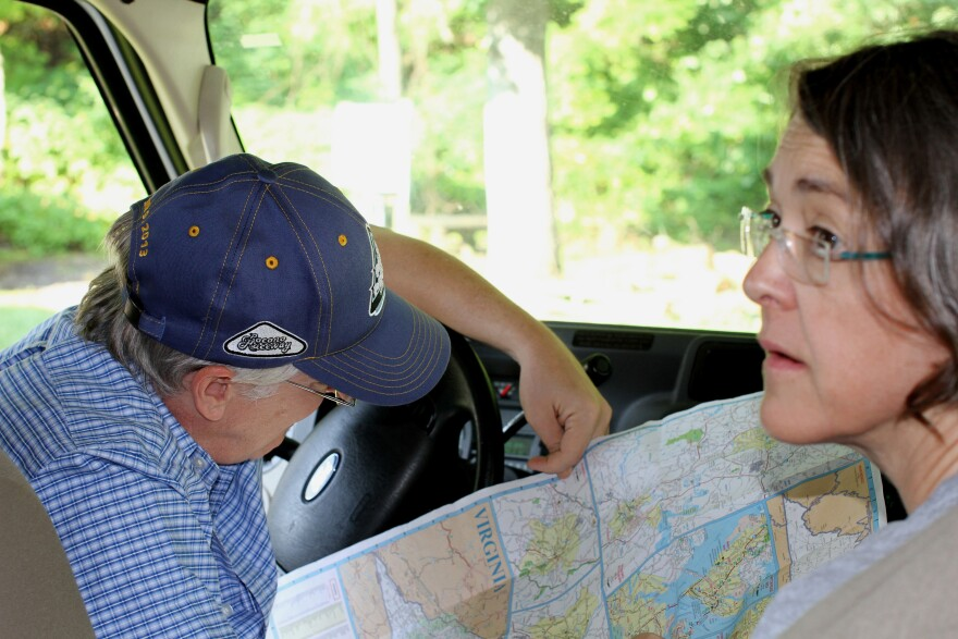 Barb and Devin Hagerty navigate down the Blue Ridge Parkway in an RV. Novelty gives zip to midlife marriage.