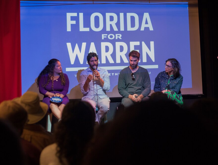 State Rep. Cindy Polo, Former Obama White House Staffer Patrick Hidalgo, Juan Cuba, former chair of the Miami-Dade Democratic Party, and writer, Ana Sofia Pelaez at Cafecito Con Warren on Saturday Feb. 29 at Gramps restaurant in Miami.