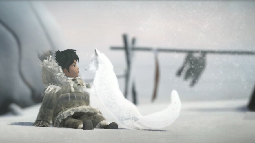 The game Never Alone tells the story of a young Inupiaq girl, Nuna, and her companion, an Arctic fox, as they go on a quest to save her village.