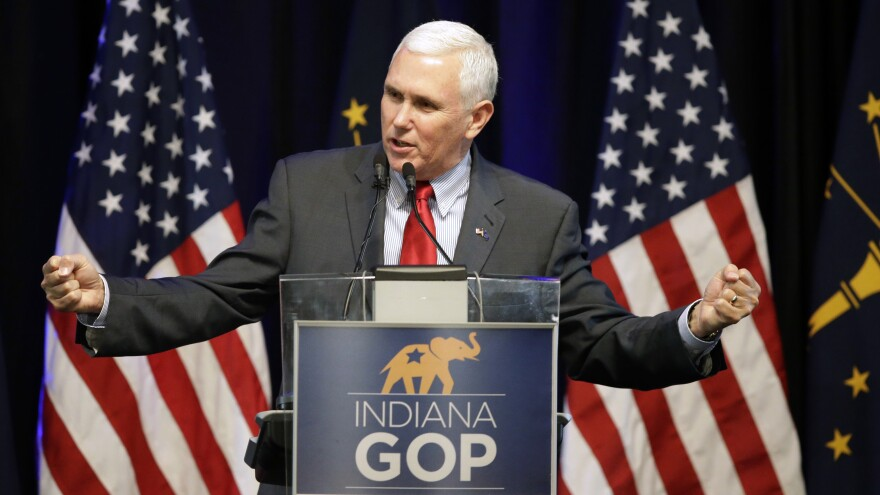 Indiana Gov. Mike Pence speaks during the Indiana Republican Party Spring Dinner last week in Indianapolis.