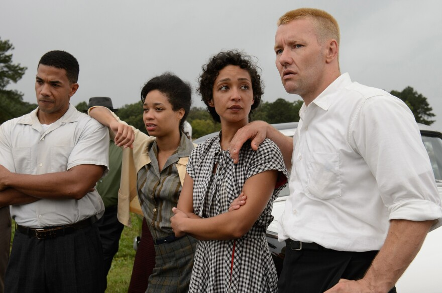 Ruth Negga (second from right) and Joel Edgerton (right) star as Mildred and Richard Loving in the film <em>Loving</em>.