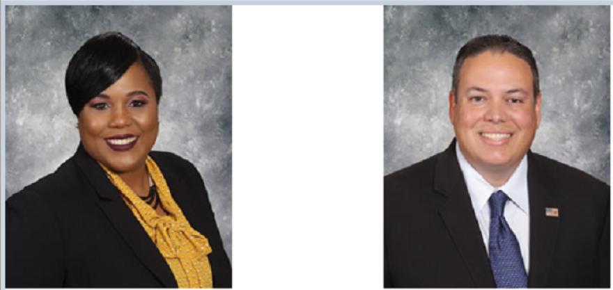 head shots of outgoing board members Tamara Shamburger and Steve Cona