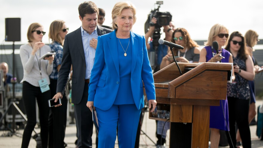 Democratic presidential candidate Hillary Clinton walks towards her campaign plane Thursday in White Plains, N.Y.