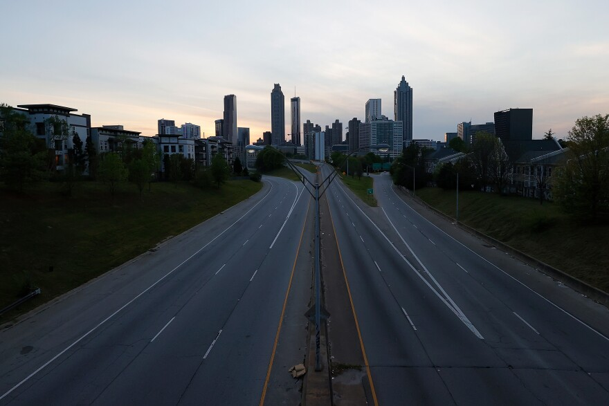 A view of an empty John Lewis Freedom Parkway into downtown Atlanta on April 4.