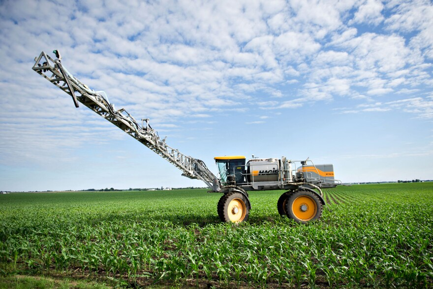 A farmer applies fertilizer to corn in Kasbeer, Ill. Scientists say one significant source of nitrogen pollution is fertilizer that leaches off of fields growing corn and soybeans to feed meat and dairy animals.
