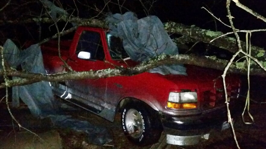 A fallen tree rests atop a pickup truck in Holly Springs, Miss., after a storm struck the town on Wednesday. A storm system killed several people as it swept across the South.