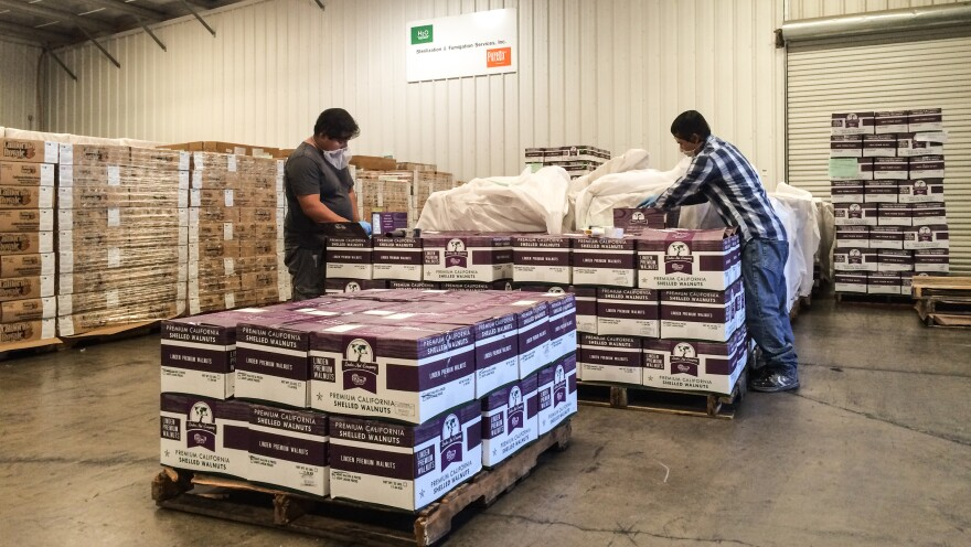 Almonds aren't the only crop treated at the Cosmed Group's facility in Newman, Calif. Here, shelled walnuts are packaged.