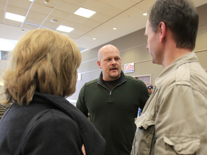 """Republican congressional candidate Joe Wurzelbacher, better known as """"Joe the Plumber,"""" talks with supporters in Rocky River, Ohio, in February."""