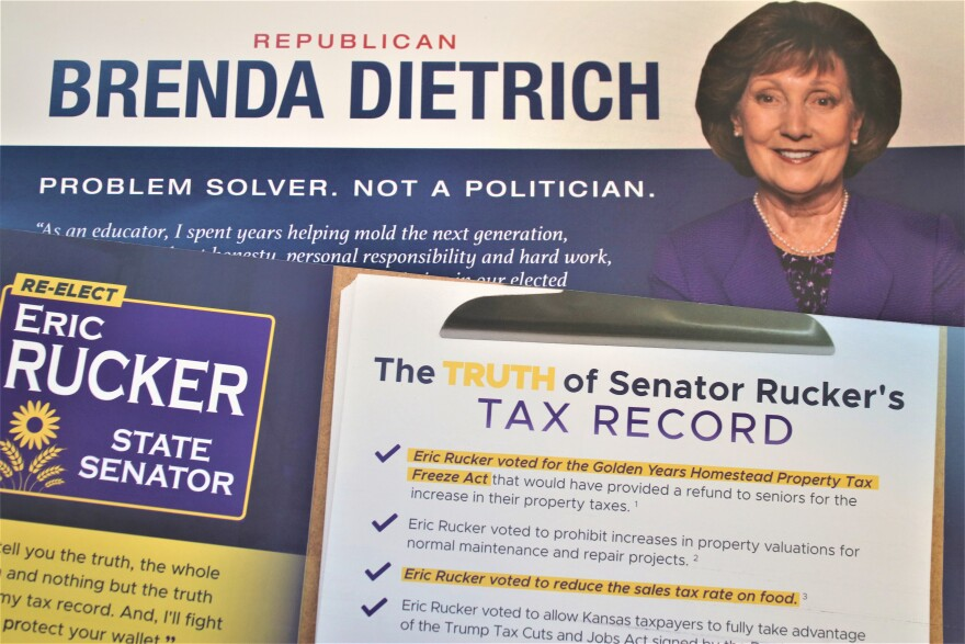 A mailer from the Dietrich-Rucker race. (Photo by Jim McLean, Kansas News Service)