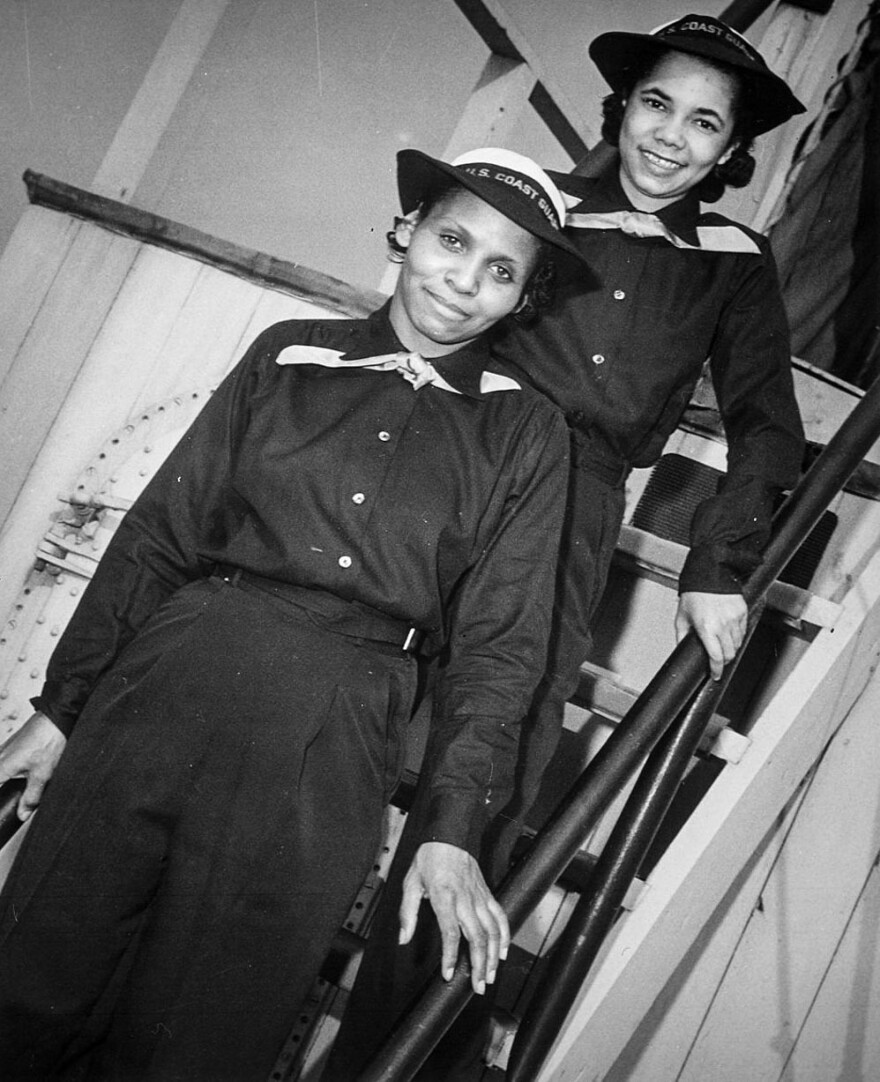 Olivia Hooker (front) with Aileen Anita Cooks (behind) are seen in March 1945 on the USS Commodore, during boot training at Manhattan Beach in Brooklyn, N.Y.
