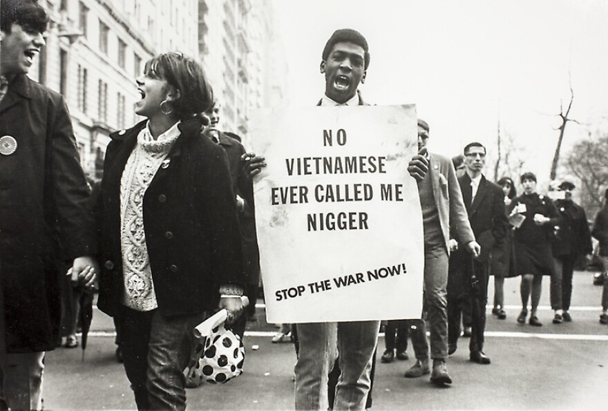 Protesters of the Vietnam War, led by civil rights activists Stokely Carmichael and Floyd McKissick, marched in New York City.