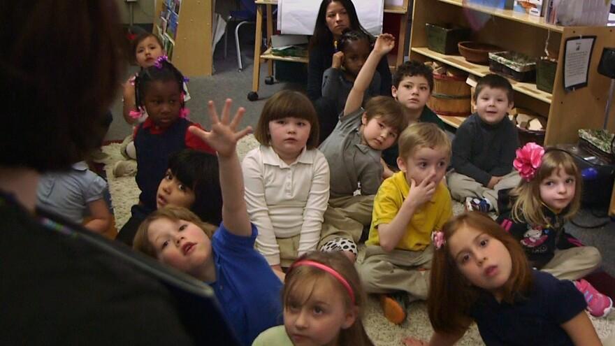 Nikki Jones' preschool class at Porter Early Childhood Development Center in Tulsa, Okla.