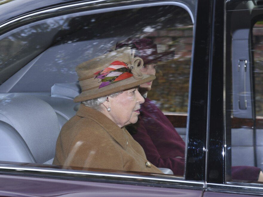 Britain's Queen Elizabeth II arrives to attend a morning church service at St. Mary Magdalene Church in Sandringham, England, on Jan. 12.